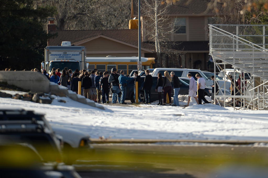 . CENTENNIAL, CO. - December 13: A student carried a shotgun into Arapahoe High School and opened fire on Friday, wounding two fellow students before apparently killing himself December 13, 2013 Centennial, CO. (Photo By Joe Amon/The Denver Post)
