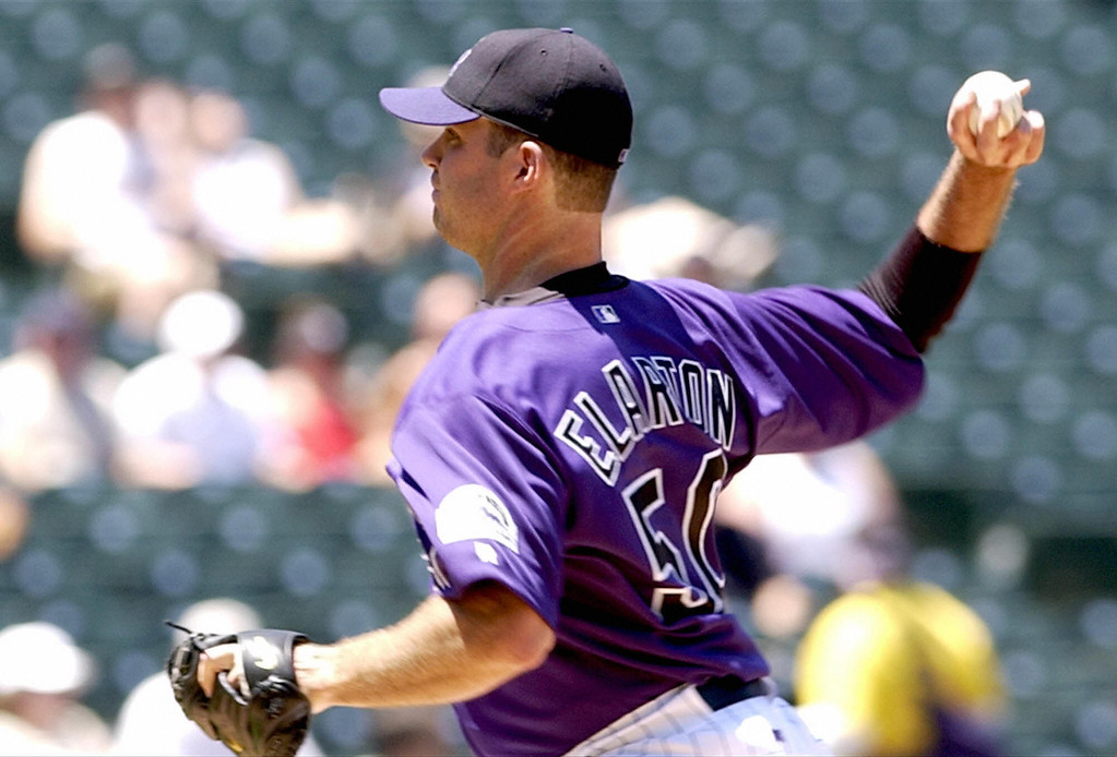 . Colorado Rockies\' pitcher Scott Elarton rifles a pitch to home against the Los Angeles Dodgers at Coors Field 29 May 2003 in Denver, Colorado.   AFP PHOTO/Mark LEFFINGWELL  (Photo credit should read MARK LEFFINGWELL/AFP/Getty Images)
