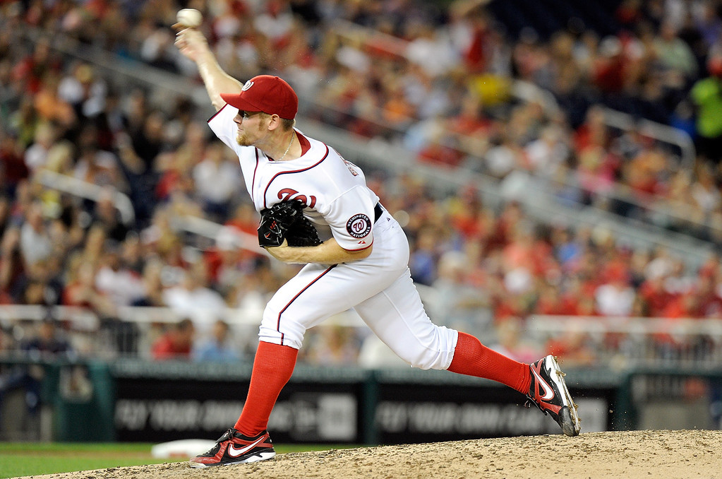 . Stephen Strasburg #37 of the Washington Nationals pitches in the seventh inning against the Colorado Rockies at Nationals Park on June 21, 2013 in Washington, DC.  (Photo by Greg Fiume/Getty Images)