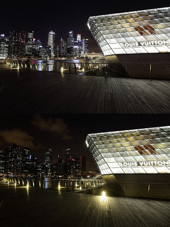 . SINGAPORE - MARCH 23: (EDITORS NOTE: Image is a digital composite.) The Louis Vuitton boutique and the Singapore city skyline is seen before (top) and after the lights were switched off to recognize Earth Hour on March 23, 2013 in Singapore, Singapore. Businesses and households around the world switch their lights off for an hour at 20:30 local time on March 23, to celebrate Earth Hour and raise awareness about climate change and renewable energy. Earth hour began in Australia in 2007 and is now celebrated in over 150 countries around the world.  (Photo by Suhaimi Abdullah/Getty Images)
