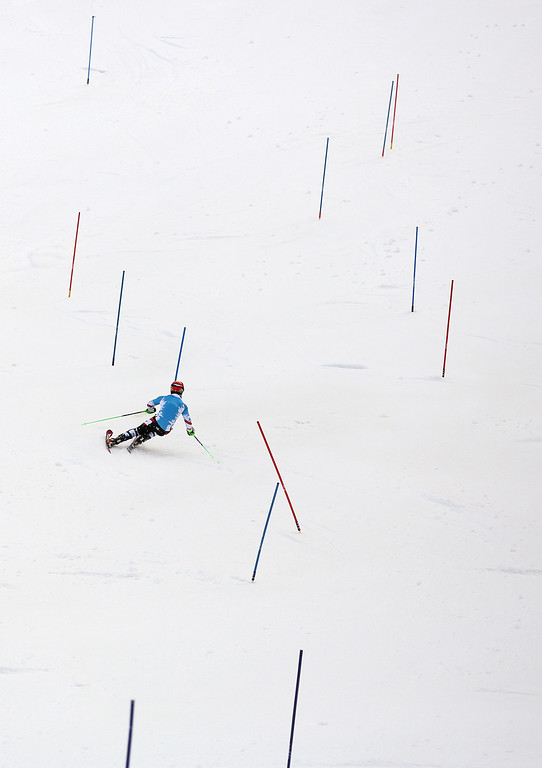 . Austria\'s Marcel Hirscher trains for the men\'s slalom at the Alpine ski venue at the Sochi 2014 Winter Olympics, Thursday, Feb. 20, 2014, in Krasnaya Polyana, Russia. (AP Photo/Alessandro Trovati)