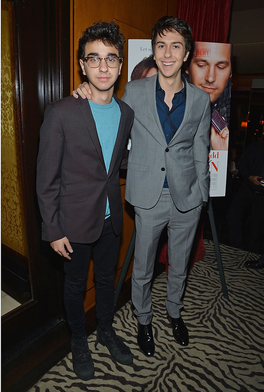 """. Alex Wolff (L) and Nat Wolff attend \""""Admission\"""" New York Premiere After Party at Monkey Bar on March 5, 2013 in New York City.  (Photo by Mike Coppola/Getty Images)"""