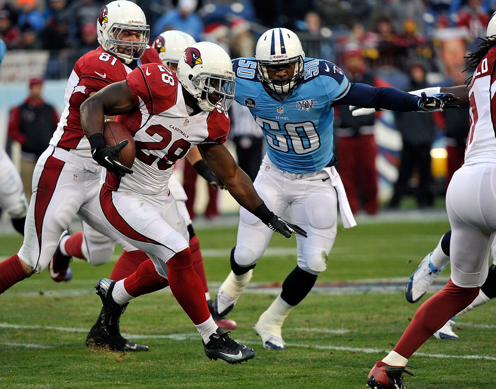 Description of . Rashard Mendenhall #28 of the Arizona Cardinals rushes against the Tennessee Titans at LP Field on December 15, 2013 in Nashville, Tennessee.  (Photo by Frederick Breedon/Getty Images)