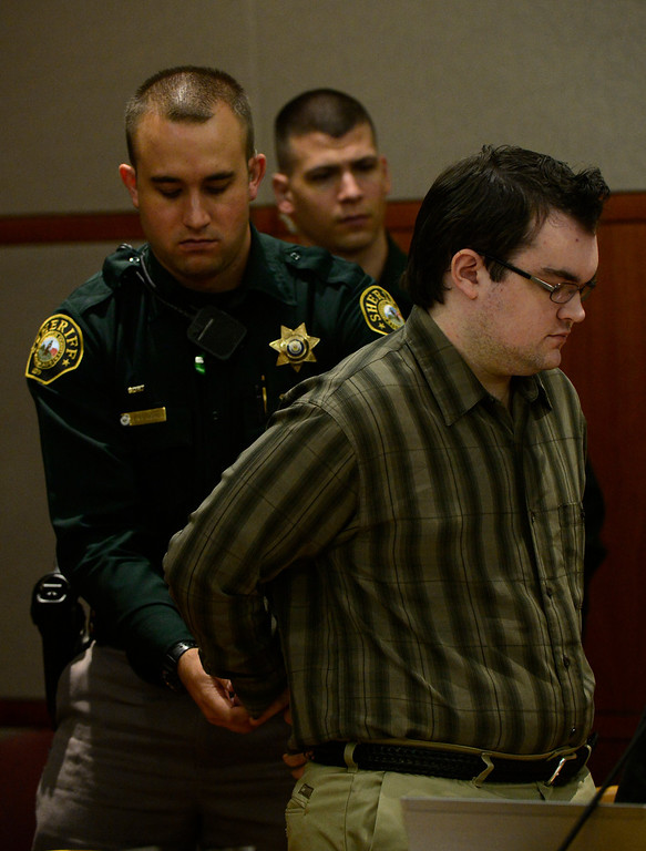 . Austin Sigg appears in Jefferson County Court, in Golden, for the second day of his sentencing hearing, November 19, 2013. Sigg, who pleaded guilty to the kidnapping and murder of 10-year-old Jessica Ridgeway, was in Courtroom 1-A with Chief Judge Stephen M. Munsinger presiding over the hearing. (Photo by RJ Sangosti/The Denver Post)
