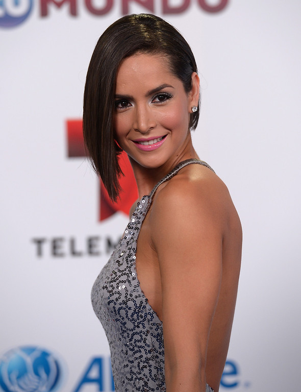 . MIAMI, FL - AUGUST 15:  Carmen Villalobos arrives for Telemundo\'s Premios Tu Mundo Awards at American Airlines Arena on August 15, 2013 in Miami, Florida.  (Photo by Gustavo Caballero/Getty Images)