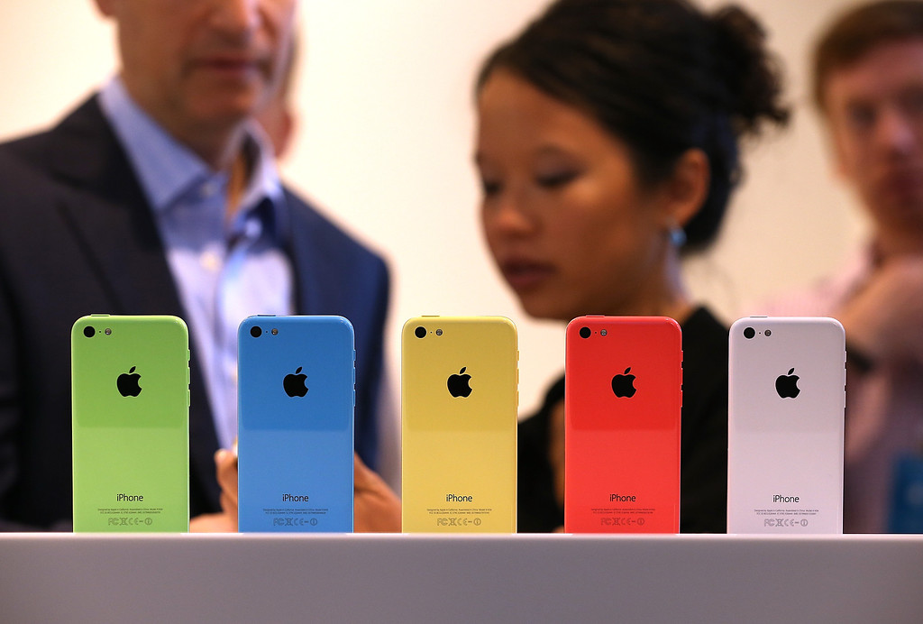 . The new iPhone 5C is displayed during an Apple product announcement at the Apple campus on September 10, 2013 in Cupertino, California.  (Photo by Justin Sullivan/Getty Images)