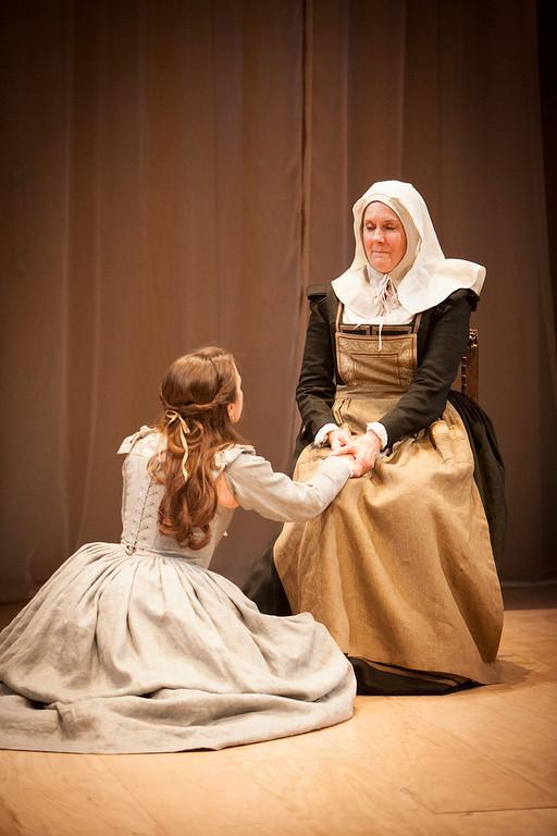 ". Left to right, Juliet (Lenne Klingaman) and Nurse (Jeanne Paulsen) in \""Romeo & Juliet.\"" Photo by Jennifer M. Koskinen, Provided by Denver Center Theatre Company."