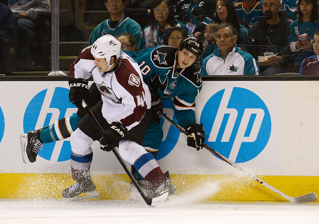 . SAN JOSE, CA - JANUARY 26:  Ryan Wilson #44 of the Colorado Avalanche collides with Andrew Desjardins #10 of the San Jose Sharks in the second period of their game at HP Pavilion on January 26, 2013 in San Jose, California.  (Photo by Thearon W. Henderson/Getty Images)