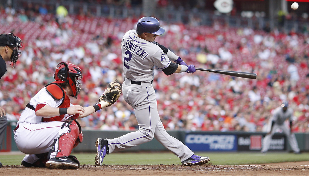 . Troy Tulowitzki #2 of the Colorado Rockies hits a two-run home run in the third inning of the game against the Cincinnati Reds at Great American Ball Park on June 5, 2013 in Cincinnati, Ohio. (Photo by Joe Robbins/Getty Images)