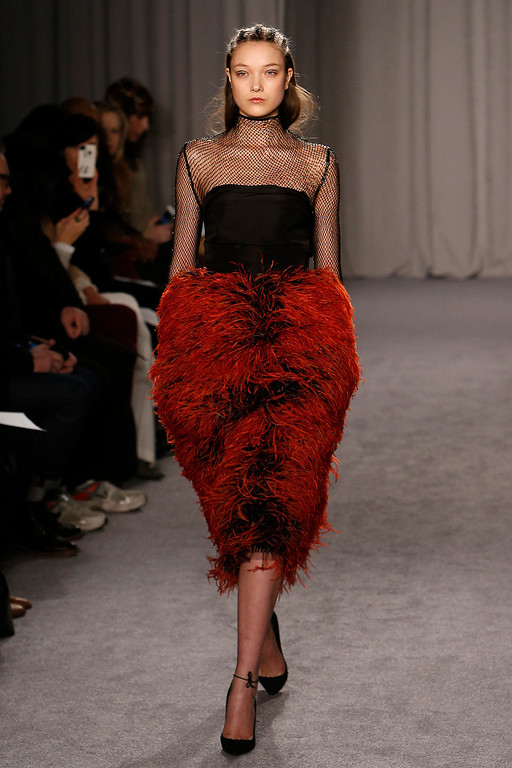 . The Marchesa Fall 2014 collection is modeled during Fashion Week in New York, Wednesday, Feb. 12, 2014. (AP Photo/Jason DeCrow)