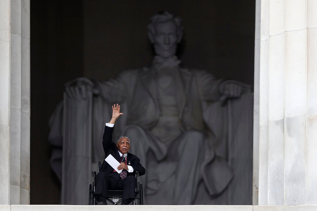 . Rev. Joseph Lowery, former president of the Southern Christian Leadership Conference, speaks at the 50th Anniversary of the March on Washington where Martin Luther King, Jr., spoke, Wednesday, Aug. 28, 2013, at the Lincoln Memorial in Washington.   (AP Photo/Charles Dharapak)