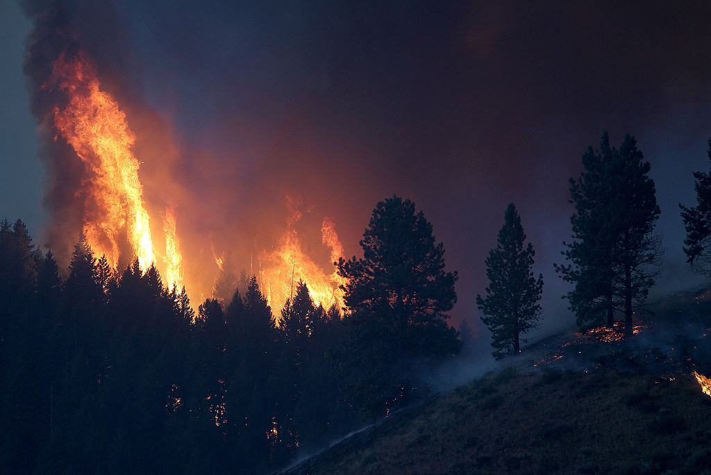 . Flames are seen on a hill next to Pine, Idaho, Sunday Aug. 11, 2013.  (AP Photo/Times-News,Ashley Smith)