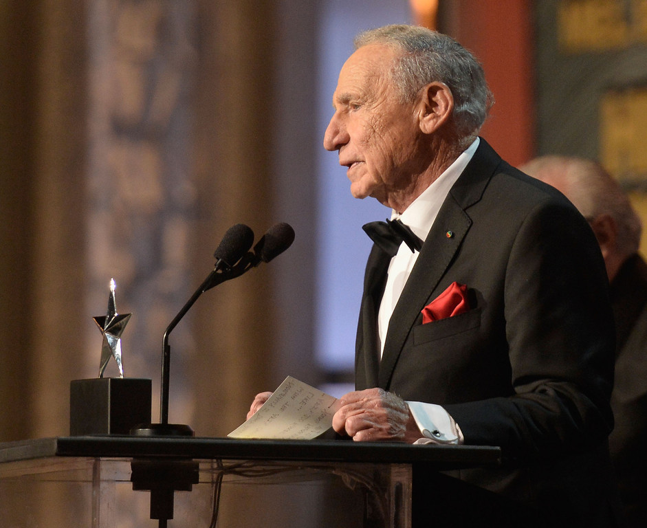 . Honoree Mel Brooks speaks onstage during the 41st AFI Life Achievement Award Honoring Mel Brooks at Dolby Theatre on June 6, 2013 in Hollywood, California. Special Broadcast will air Saturday, June 15 at 9:00 P.M. ET/PT on TNT and Wednesday, July 24 on TCM as part of an All-Night Tribute to Brooks.  (Photo by Frazer Harrison/Getty Images for AFI)