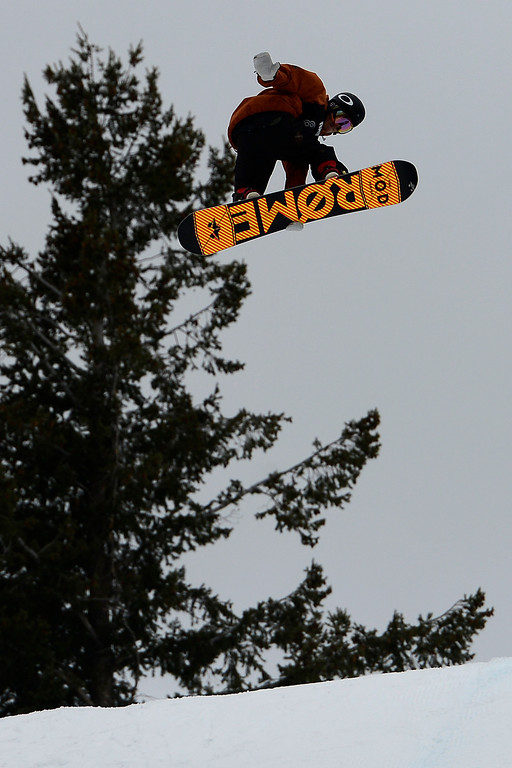 . ASPEN, CO. - JANUARY 24: Stale Sandbech hits a jump during the men\'s Snowboard Slopestyle elimination. Men\'s Snowboard Slopestyle elimination X Games Aspen Buttermilk Mountain Aspen January 24, 2013. (Photo By AAron Ontiveroz / The Denver Post)