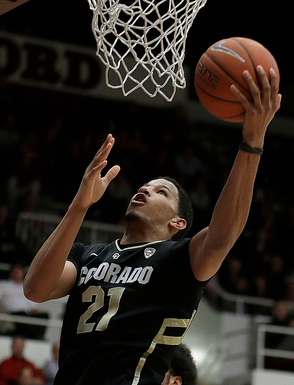 . Colorado\'s Andre Roberson lays up a shot against Stanford during the second half of an NCAA college basketball game Wednesday, Feb. 27, 2013, in Stanford, Calif. (AP Photo/Ben Margot)