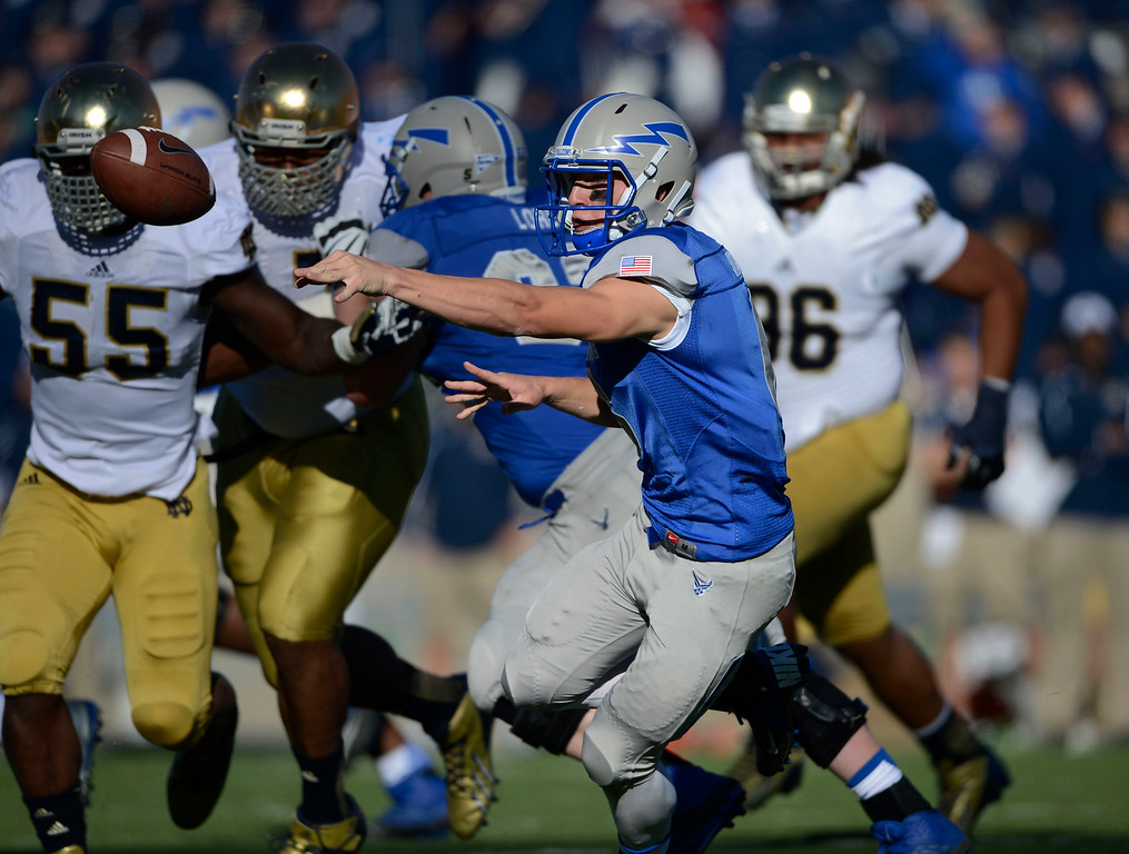 . COLORADO SPRINGS, CO - OCTOBER 26: Air Force QB, Nate Romine, pitches the ball during the game against Notre Dame in the first quarter at Falcon Stadium, Saturday afternoon, October 26, 2013. (Photo By Andy Cross/The Denver Post)