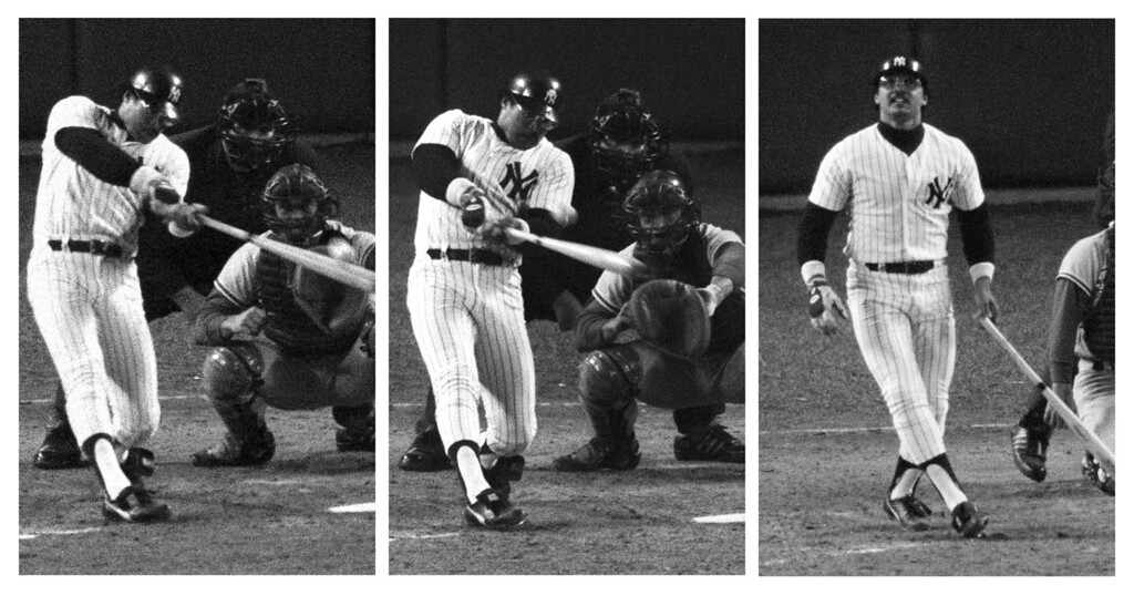 """. In World Series Game 6 at Yankee Stadium, October 18, 1977, New York Yankees slugger Reggie Jackson hits home runs on three consecutive pitches from three different Los Angeles Dodgers pitchers. Here, from left, Jackson goes deep off Burt Hooton in the fourth inning. Then he takes Elias Sosa out of the park in the fifth. And finally, he admires his eighth inning homer off Charlie Hough. \""""Mr. October\"""" had five RBIs on the night and hit .450 for the Series. Not to be overlooked, the Yankees won the game 8-4 for their 21st World Series championship. (AP Photos/Ray Stubblebine)"""