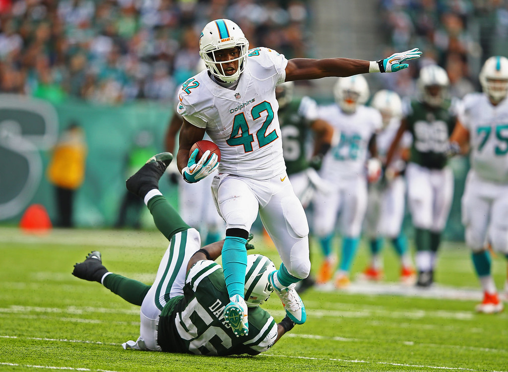 . Charles Clay #42 of the Miami Dolphins runs after a catch as  DeMario Davis #56 of the New York Jets misses the tackle  during their game at MetLife Stadium on December 1, 2013 in East Rutherford, New Jersey.  (Photo by Al Bello/Getty Images)