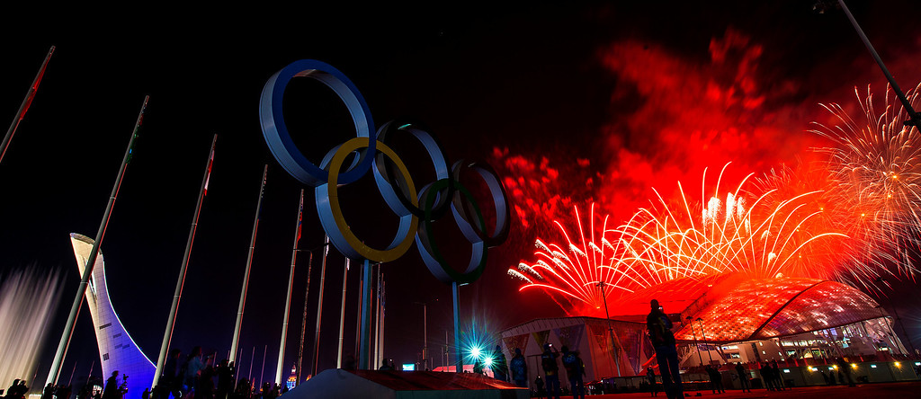 . Fireworks explode during the Closing Ceremony of the 2014 Sochi Olympics outside of Fisht Olympic Stadium Sunday February 23, 2014. 
