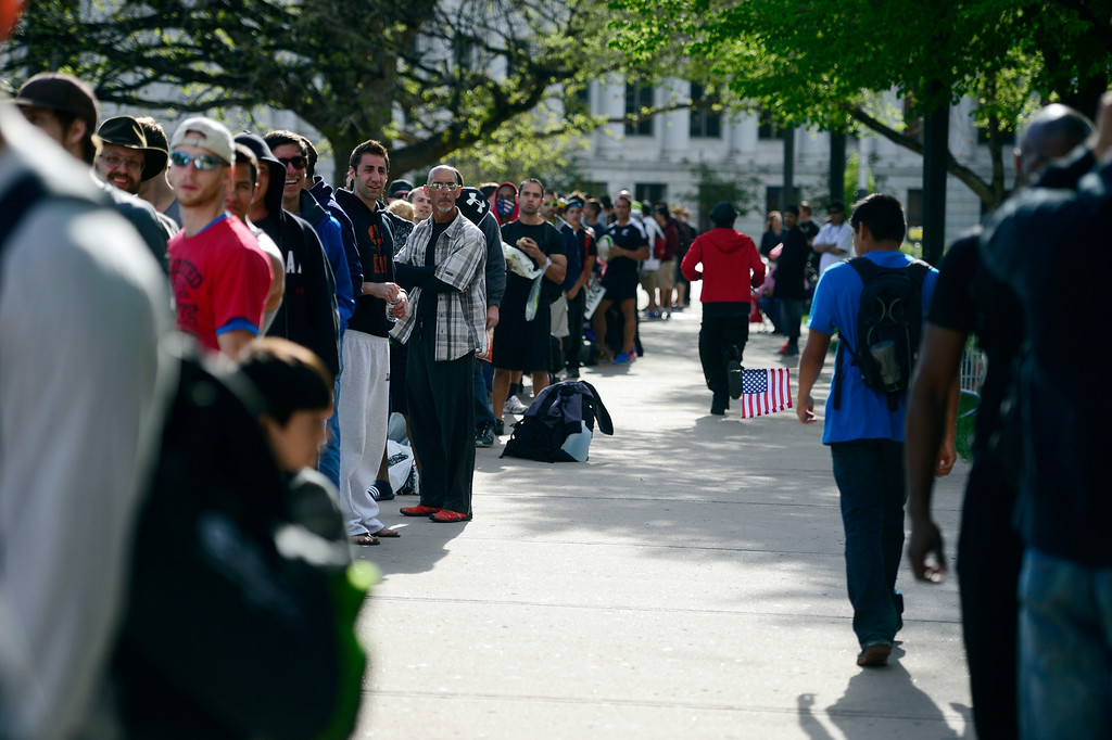 . People wait in line before the tryout for American Ninja Warrior Denver on on May 19, 2013. (Photo by AAron Ontiveroz/The Denver Post)