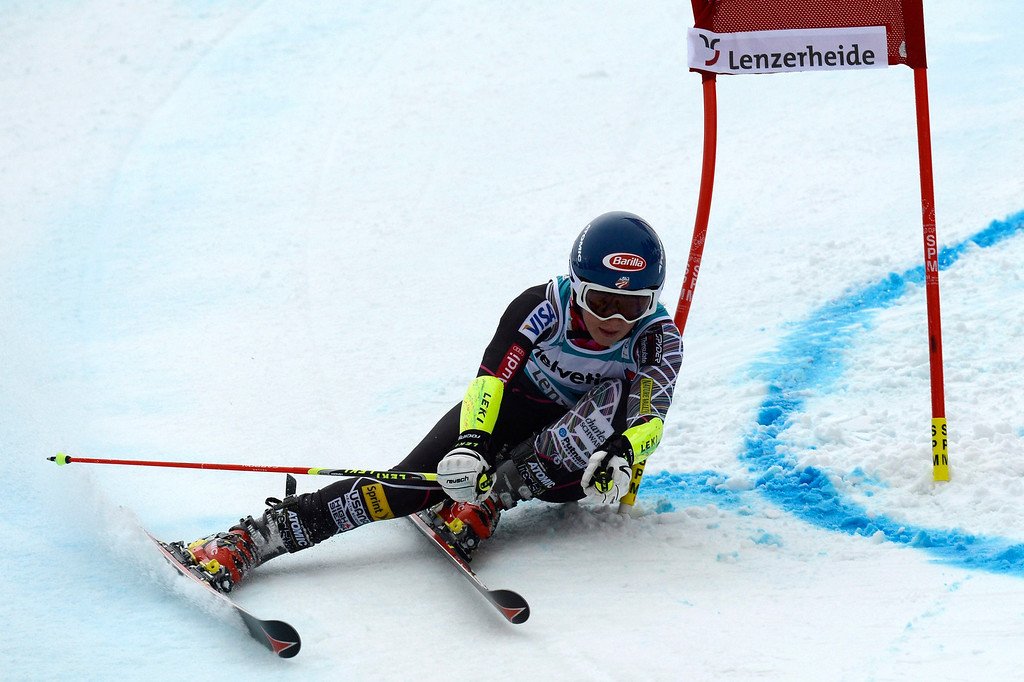 . Mikaela Shiffrin of US speeds down the course in the first run during the women\'s Giant Slalom race at the FIS Alpine Skiing World Cup finals, in Parpan-Lenzerheide, Switzerland, 16 March 2014.  EPA/PETER SCHNEIDER