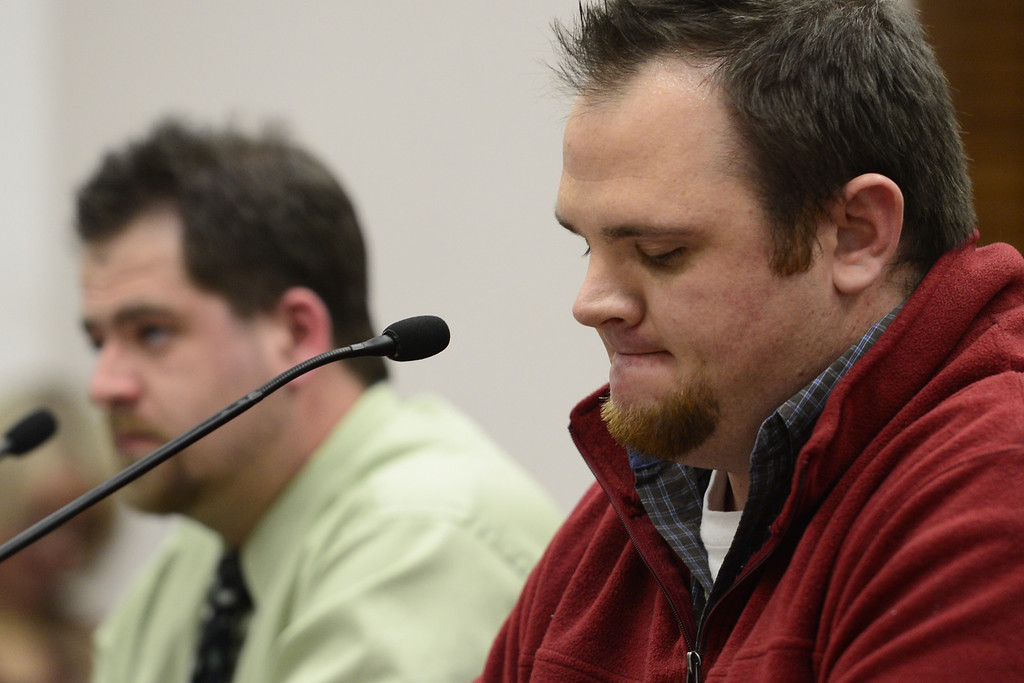 . DENVER, CO - MARCH 4: Columbine survivors Evan Todd (right) and Jared Gates testify against gun legislation citing mental health as the bigger issue at the State Capitol. Four gun bills were up for debate. (Photo by AAron Ontiveroz/The Denver Post)