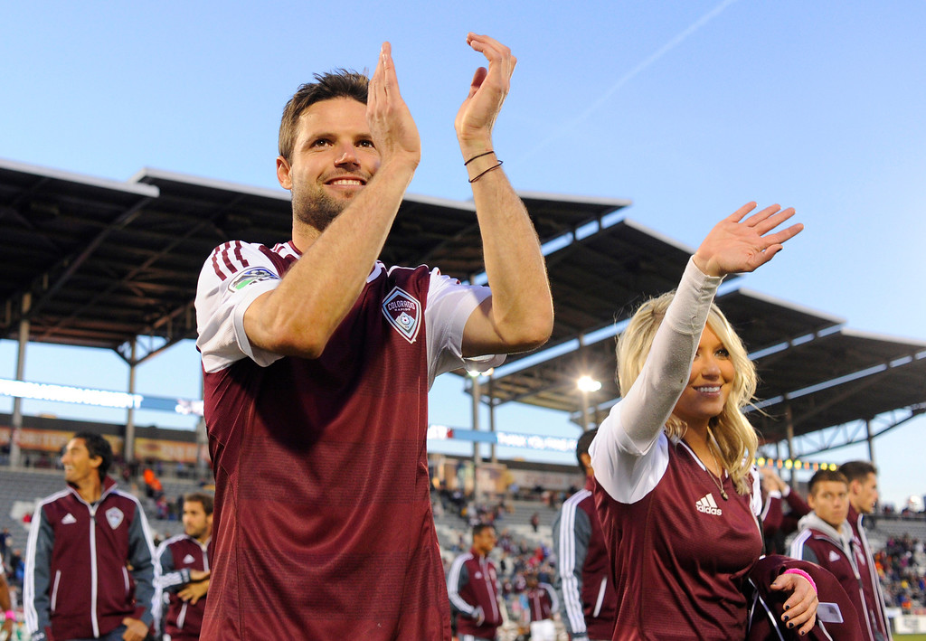 . COMMERCE CITY, CO. - OCTOBER 19: Colorado captain Drew Moor thanked fans for their support during the season. The Colorado Rapids defeated the Vancouver Whitecaps 3-2 at Dick\'s Sporting Goods Park Saturday, October 19, 2013. Photo By Karl Gehring/The Denver Post