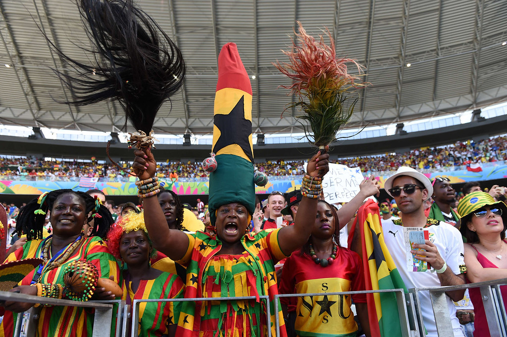 . Ghana\'s supporters cheer prior to a Group G football match between Germany and Ghana at the Castelao Stadium in Fortaleza during the 2014 FIFA World Cup on June 21, 2014. CARL DE SOUZA/AFP/Getty Images