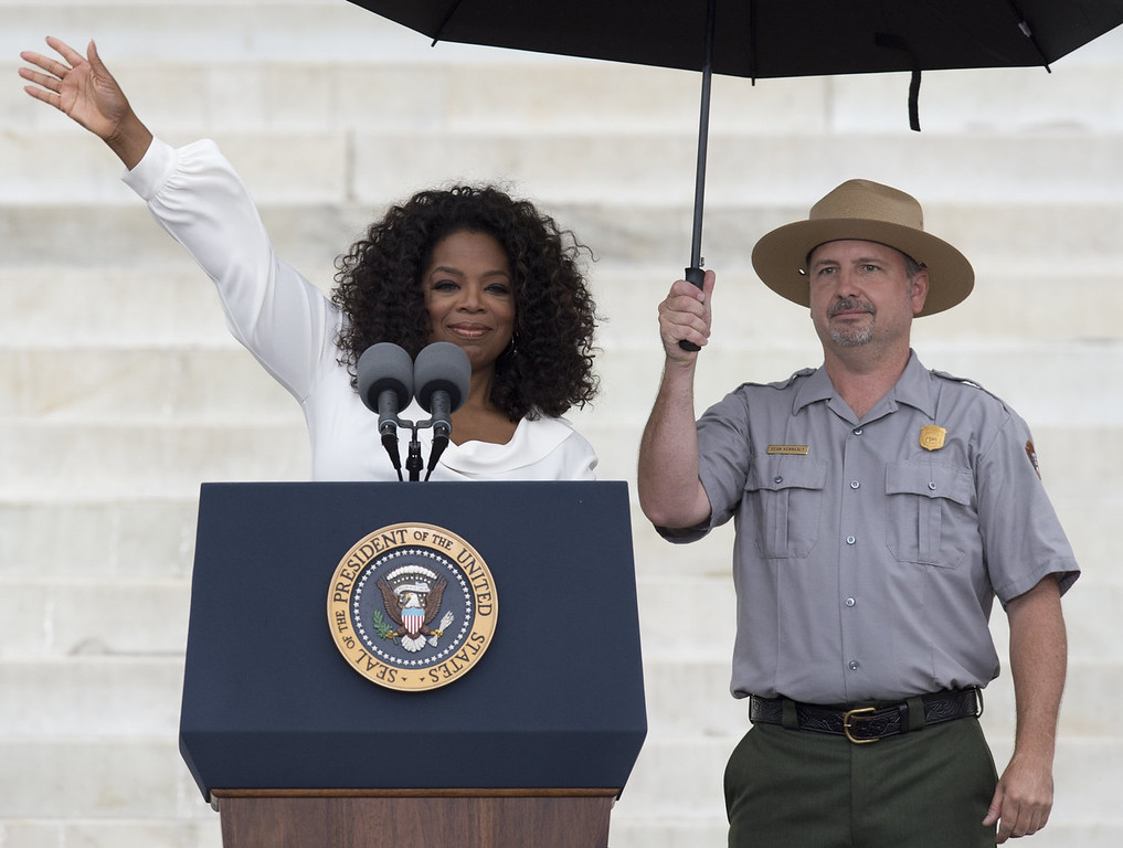 ". Oprah Winfrey speaks during the Let Freedom Ring Commemoration and Call to Action to commemorate the 50th anniversary of the March on Washington for Jobs and Freedom at the Lincoln Memorial in Washington, DC on August 28, 2013. Thousands will gather on the mall on the anniversary of the march and Dr. Martin Luther King, Jr.\'s famous ""I Have a Dream\"" speech.   SAUL LOEB/AFP/Getty Images"