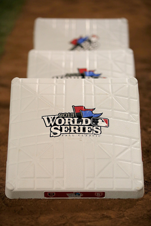. The 2013 World Series bases are seen before Game One between the Boston Red Sox and the St. Louis Cardinals at Fenway Park on October 23, 2013 in Boston, Massachusetts.  (Photo by Jamie Squire/Getty Images)