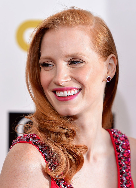 . Actress Jessica Chastain arrives at the 18th Annual Critics\' Choice Movie Awards at Barker Hangar on January 10, 2013 in Santa Monica, California.  (Photo by Frazer Harrison/Getty Images)