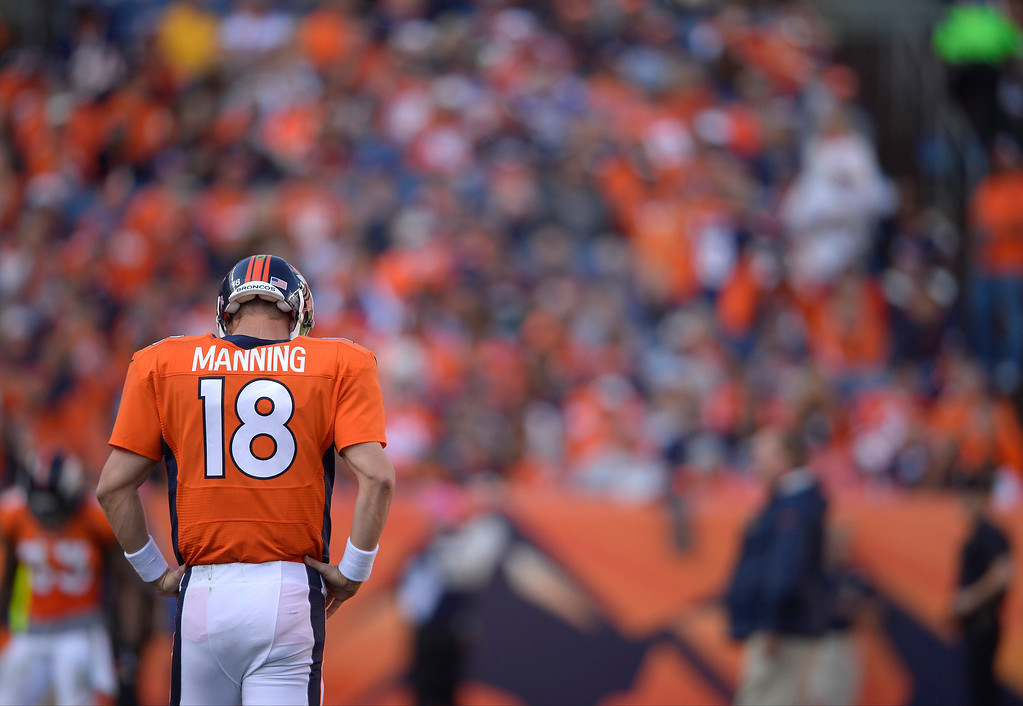 . Denver Broncos quarterback Peyton Manning (18) in the third quarter.   (Photo by Joe Amon/The Denver Post)