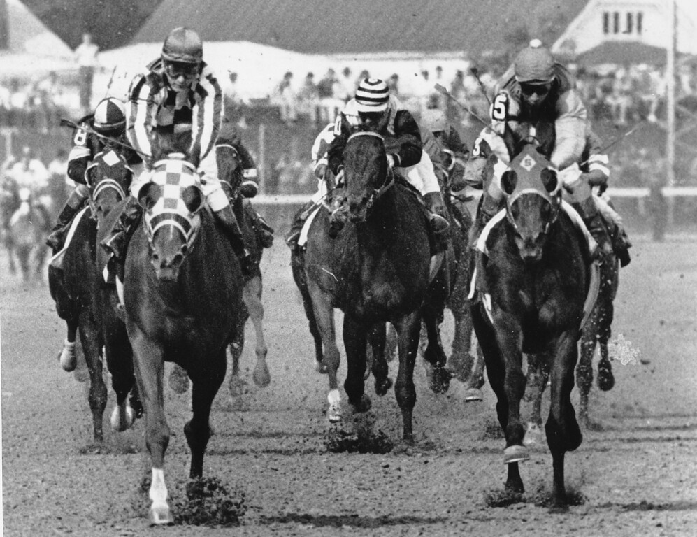 . 1973:  SECRETARIAT - Jockey Ron Turcotte begins to stand up as he rides Secretariat across the finish line during the 99th Kentucky Derby at Churchill Downs in Louisville, Ky. on May 5, 1973.  Secretariat won the Triple Crown that year.