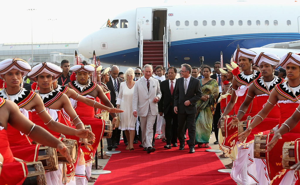 . Prince Charles, Prince of Wales and Camilla, Duchess of Cornwall arrive in Sri Lanka on November 14, 2013 in Columbo, Sri Lanka. The Royal couple are visiting Sri Lanka in order to attend the 2013 Commonwealth Heads of Government Meeting.  (Photo by Chris Jackson/Getty Images)