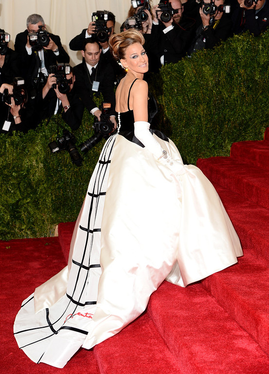 """. Sarah Jessica Parker attends the \""""Charles James: Beyond Fashion\"""" Costume Institute Gala at the Metropolitan Museum of Art on May 5, 2014 in New York City.  (Photo by Dimitrios Kambouris/Getty Images)"""