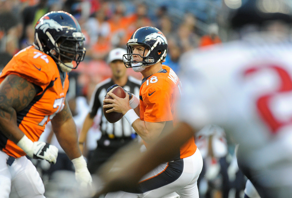 . DENVER, CO - AUGUST 23: Denver Broncos quarterback Peyton Manning (18) drops back to pass during the first quarter against the Houston Texans August 23, 2014 at Sports Authority Field at Mile High Stadium. (Photo by John Leyba/The Denver Post)