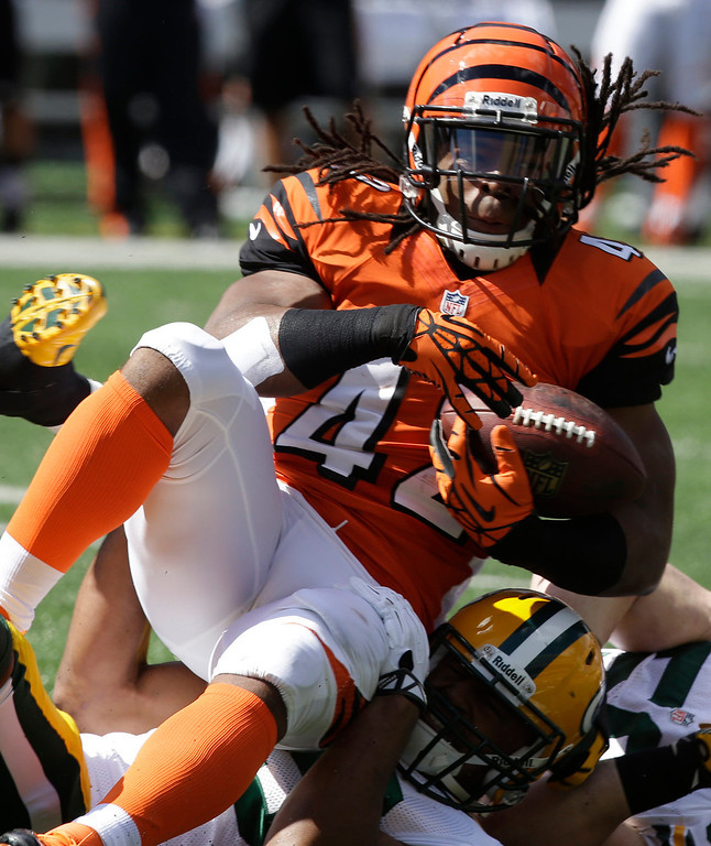 . Cincinnati Bengals running back BenJarvus Green-Ellis (42) is tackled after a short gain against the Green Bay Packers in the first half of an NFL football game, Sunday, Sept. 22, 2013, in Cincinnati. (AP Photo/Al Behrman)