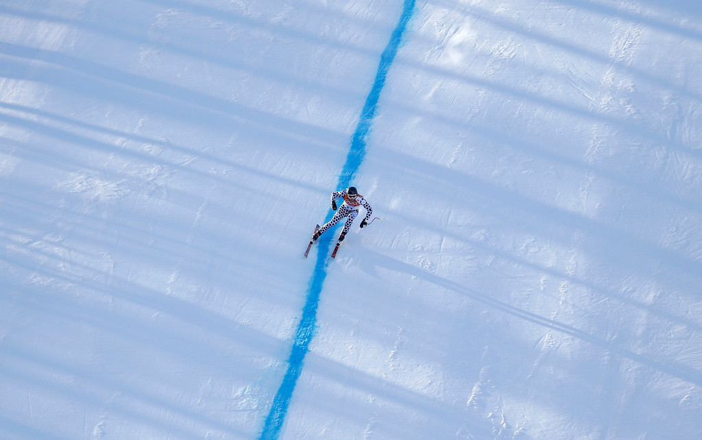 . Argentina\'s Cristian Javier Simari Birkner nears the finish in the downhill portion of the men\'s supercombined at the Sochi 2014 Winter Olympics, Friday, Feb. 14, 2014, in Krasnaya Polyana, Russia. (AP Photo/Gero Breloer)