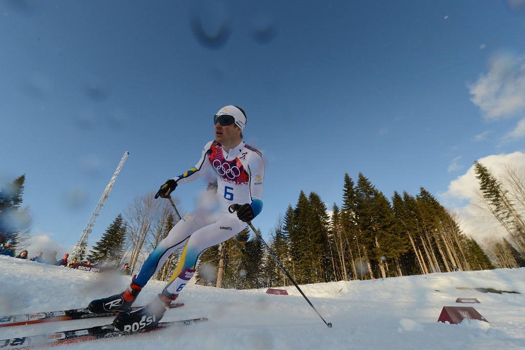 . Silver medalist Sweden\'s Teodor Peterson competes in the Men\'s Cross-Country Skiing Individual Sprint Free Final at the Laura Cross-Country Ski and Biathlon Center during the Sochi Winter Olympics on February 11, 2014 in Rosa Khutor near Sochi .  KIRILL KUDRYAVTSEV/AFP/Getty Images