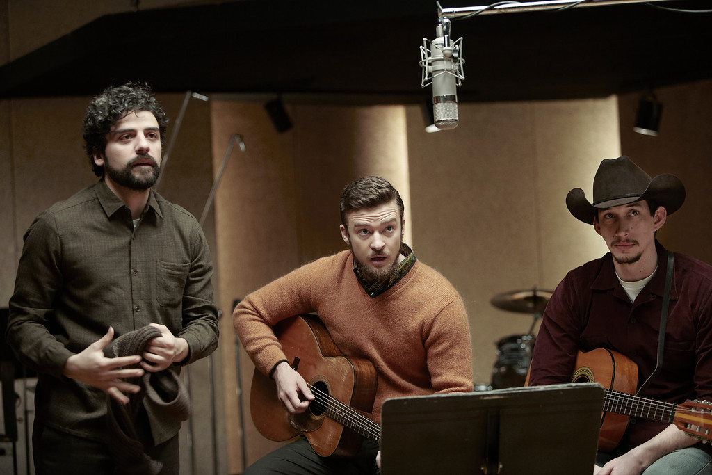 """. Oscar Isaac, left, as the title folk singer, Justin Timberlake and Adam Driver in the Coen brothers \""""Inside Llewyn Davis.\"""" Photo Alison Rosa, provided by CBS Films"""