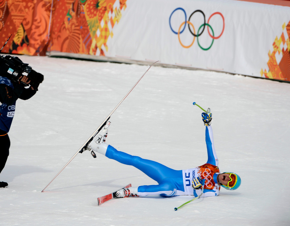 . Italy\'s Christof Innerhofer reacts to his time, which was good enough for a silver medal, for the Men\'s Downhill finals at the Rosa Khutor Alpine Center in Sochi, Russia, on Sunday, Feb. 9, 2014.  (Nhat V. Meyer/Bay Area News Group)
