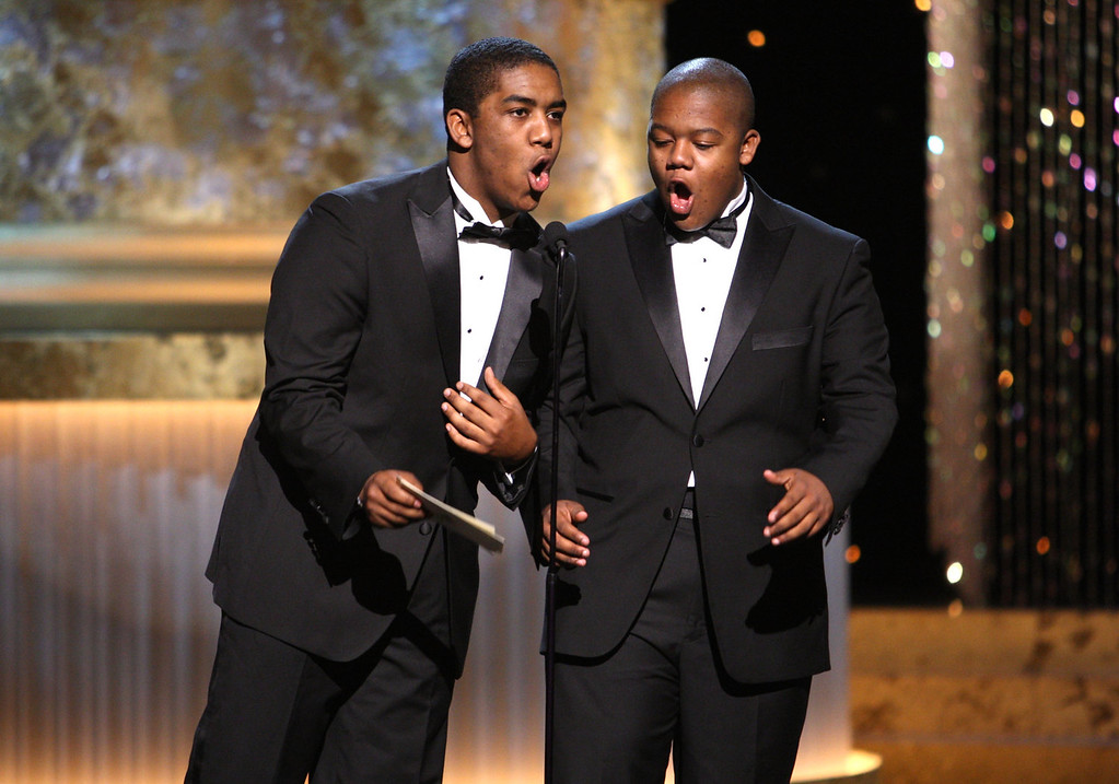. Actors Chris (L) and Kyle Massey present the Emmy for Outstanding Performer in a Children\'s Series during the 36th Annual Daytime Emmy Awards at The Orpheum Theatre on August 30, 2009 in Los Angeles, California.  (Photo by John Shearer/Getty Images for ATI)