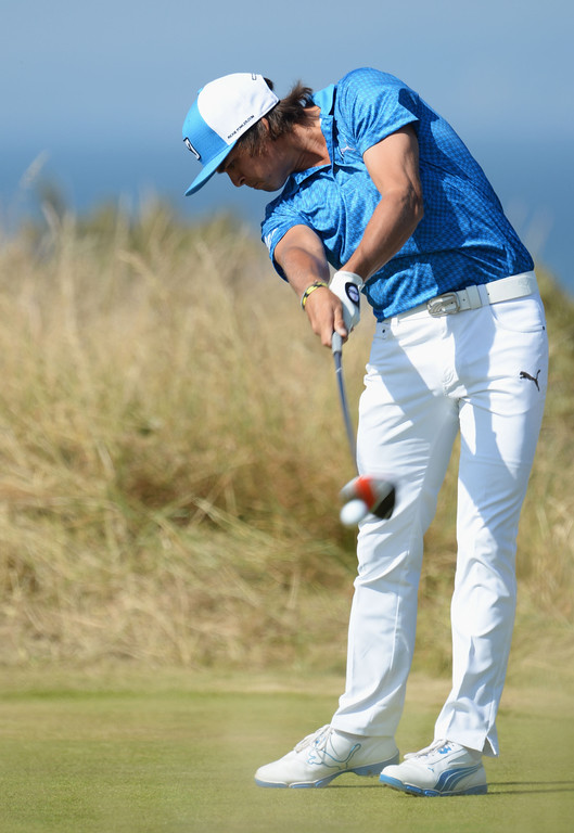 . Rickie Fowler of the United States tees off on the 5th hole during the second round of the 142nd Open Championship at Muirfield on July 19, 2013 in Gullane, Scotland.  (Photo by Stuart Franklin/Getty Images)