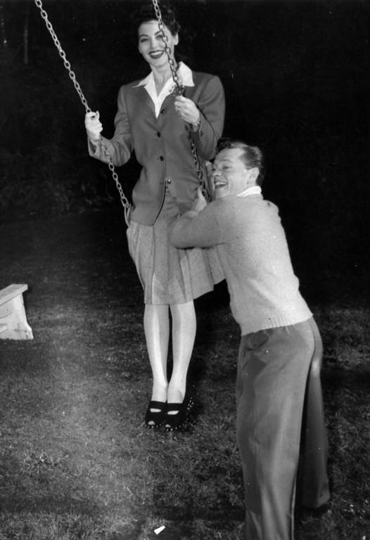 . Movie star Mickey Rooney and his bride Ava Gardner enjoy their honeymoon in Del Monte, Ca. on Jan. 12, 1942.  They were married in Ballard on Jan. 10.  (AP Photo)