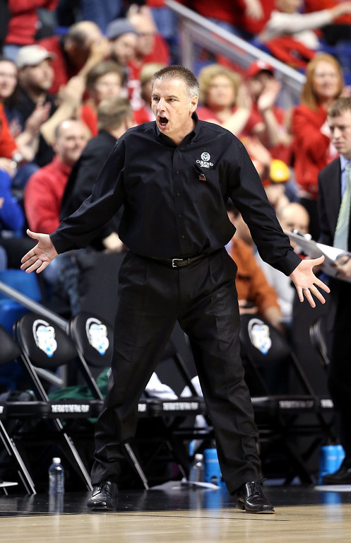 . LEXINGTON, KY - MARCH 23:  Head coach Larry Eustachy of the Colorado State Rams reacts to a call in the first half against the Louisville Cardinals during the third round of the 2013 NCAA Men\'s Basketball Tournament at Rupp Arena on March 23, 2013 in Lexington, Kentucky.  (Photo by Andy Lyons/Getty Images)