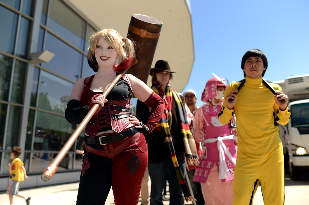 . DENVER, CO. - MAY 31: Sarah Paul of Fort Collins with Harley Quinn costume and people are in the line of Opening day of Denver Comic Con at Colorado Convention Center. Denver, Colorado. May 31, 2013. (Photo By Hyoung Chang/The Denver Post)