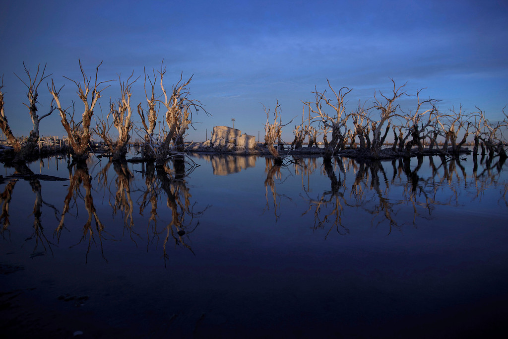 . In this May 7, 2013 photo, trees are reflected in water in Epecuen,  a village that once was submerged in water in Argentina.  Many residents of Epecuen fled to nearby Carhue, another lakeside town, and set up new hotels and spas, promising relaxing getaways featuring saltwater and mud facials. (AP Photo/Natacha Pisarenko)
