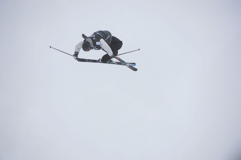 . Andreas Haatveit, NOR, launches of the third jump during his first run of the U.S. Grand Prix slope style finals at the Copper Mountain ski area Saturday afternoon, December 21, 2013. Haatveit won the event.  (Photo By Andy Cross / The Denver Post)