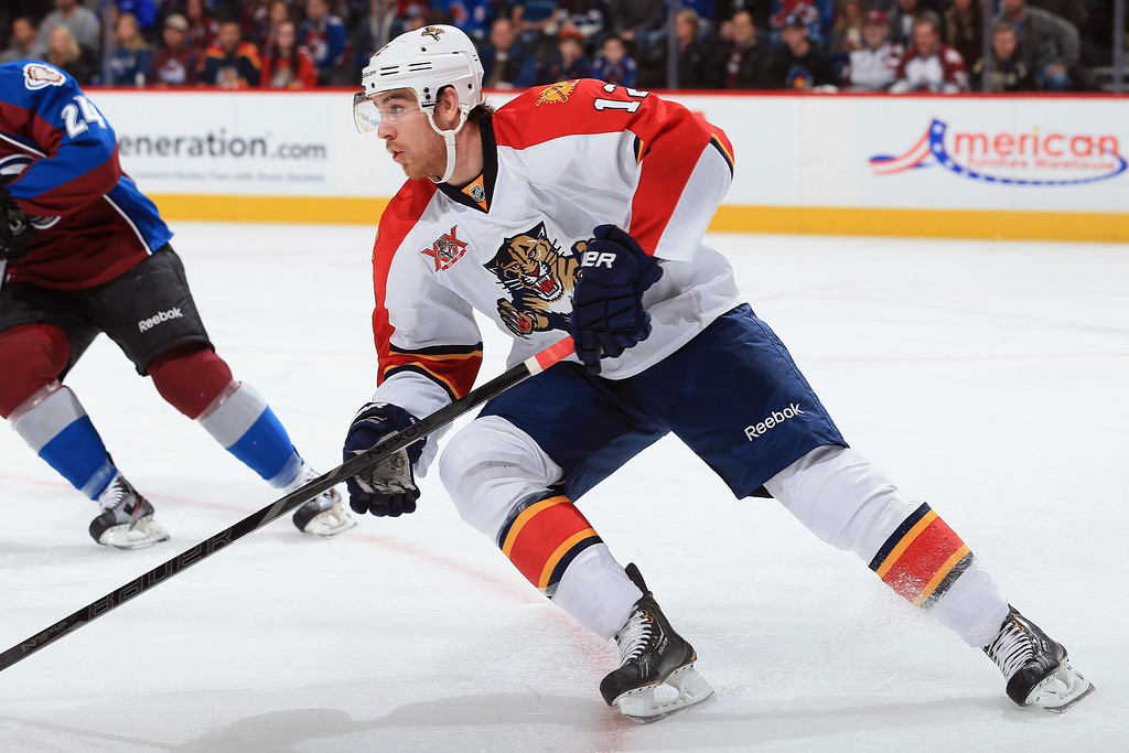 . DENVER, CO - NOVEMBER 16:  Jimmy Hayes #12 of the Florida Panthers skates against the Colorado Avalanche at Pepsi Center on November 16, 2013 in Denver, Colorado.  (Photo by Doug Pensinger/Getty Images)