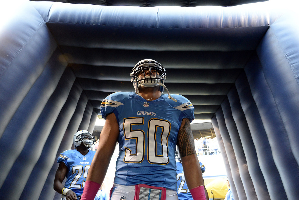 . Manti Te\'o #50 of the San Diego Chargers is introduced against Indianapolis Colts defends at Qualcomm Stadium October 14, 2013 in San Diego, California.  (Photo by Kevork Djansezian/Getty Images)